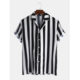 Mens New Fashion Trendy Black Striped Short Sleeved Shirts