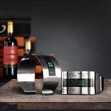 KCASA Wine Bottle Digital Thermometer Bracelet Reader Metal LCD Stainless Steel Sleeve