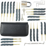DANIU 24pcs Single Hook Lock Pick Set with 1Pc Transparent Lock Locksmith Practice Training Skill Set