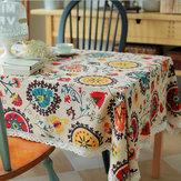 Hoa mặt trời Bông vải lanh Bộ đồ ăn Mat Bàn Á hậu Khăn trải bàn Bàn cách nhiệt Bát Pad