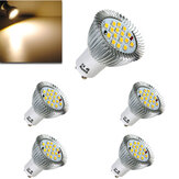 5X GU10 6.4W 16 SMD 5630 LED Warm White Spot Bulb 185-265V