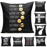 43x43cm Black English Letter Fashion Cotton Linen Pillow Case Home Sofa Seat Bed Car Cushion Decor