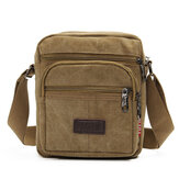 Hombres Casual Retro Canvas Shoulderbags Multi Pocket Crossbody Bolsa