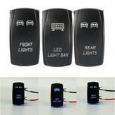 3Pcs 5-Pins Front & Rear Light LED rétroéclairé Laser Push Rocker Switch