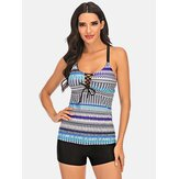 Plus Size Women Ethnic Print Bandage avant Criss-Cross Tankini Cover Belly Beachwear
