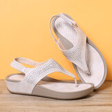 Dames Soft Sole Clip Toe Rhinestone Hook Loop Casual Summer Beach Wedge Sandals