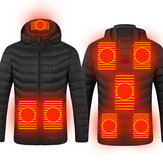 8 Heating Zones USB Unisex Electric Heated Coat Winter Warm Hooded Jacket