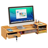 Holz Computer Monitor Stand Riser Desktop LED LCD Monitor Support Holder Dateispeicher Schublade