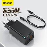 [GaN Tech] Baseus GaN2 Pro 65W Carregador USB PD de 3 portas Dual 65W USB-C PD3.0 QC3.0 FCP SCP Adaptador de carregador de parede de carregamento rápido Plugue UE com cabo 100W 5A USB-C para USB-C