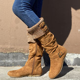 Women's Plus Size Buckle Decor Suede Woolen Warm Zipper Flat Knee Boots