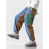 Mens Multi Pocket Corduroy Splicing Drawstring Elastic Waist Jogger Pants