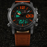 NAVIFORCE 9095 Mode Sport Mannen Horloge Casual Leather Band Sport Dubbel Beweging Horloge