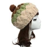 Women Female Knitted Flat Rabbit Fur Ball Beanie Hat Adjustable Elastic Beret Cap