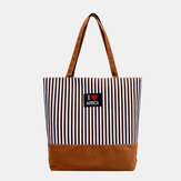 Women Striped Large Capacity Casual Tote Shoulder Bag Shopping Bag