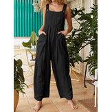 Solid Color Button Sleeveless Overalls Side Pocket Jumpsuit For Women