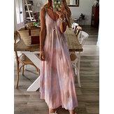 طباعة الأشرطة أكمام الأزهار الخامس الرقبة فستان ماكسي فضفاض عارضة