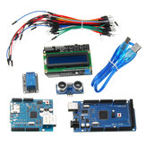 Mega 2560 R3 Starter Kits + HC-SR04 + Breadboard Cable + Relay Module + W5100 UNO Shield + LCD 1602 Keypad Shield