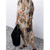 Kadınlar Retro Çiçek Yaprakları Baskı Yaka Yaka Düzensiz Etek Düğmesi Gömlek Cepli Elbiseler