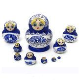 1 комплект 10шт русские куклы деревянные ручной росписью вложенности Babushka матрешка настоящий подарок