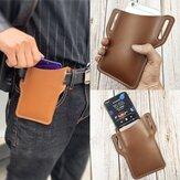 Mannen kunstleer effen kleur telefoon tas Retro gemakkelijk dragen heuptas EDC riem tas met riemlus
