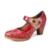 SOCOFY Retro Cuero repujado Floral Gancho Zapatos de tacón grueso con correa en el tobillo y lazo
