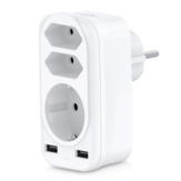 4000W 250V USB Socket Adapter 5-in-1 Multiple Plug 3 Way Multi Plug Double Euro and 1 Schuko Multi Socket with 2 USB Charger Adapters 2.4 A for iPhone Mobile Phones with Child Safety Lock