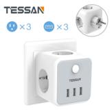 TESSAN TS-301-DE 6-v-1 německá / evropská napájecí zásuvka se 3 zásuvkami / 3 USB nabíječka s ochranou proti přetížení s vypínačem