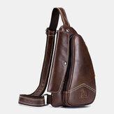 Men Genuine Leather Cowhide Triangle Shape Fashion Retro Business Shoulder Bag Chest Bag