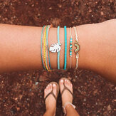 Bohemian Rainbow Leather 5 Pcs Bracelet Set