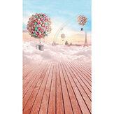 3 x 5ft Colorful Sky Ballon houten vloer Studio fotografie achtergronden achtergrond