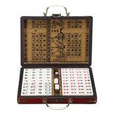 Portable Retro Mahjong Scatola Rare Chinese 144 Tiles Mah-Jong Set Funny Party Gioco da tavolo giocattolo