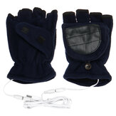 1 Paar USB-Elektrohandschuhe Winter Warm Soft Fingerless Mitten Unisex