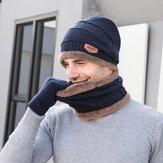 Mannen Kind 3 STKS Effen Kleur Warm Houden Sets Mode Toevallige Wollen Muts Beanie Sjaal Vingerhandschoenen