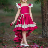 Girls Children Lace Patchwork Bez rękawów Princess Dress