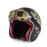 SOMAN Retro Half Face Helmet Safety Motorcycle Helmett Riding For Men and Women with Free Goggles
