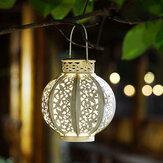 LED para energia solar no pátio do quarto ao ar livre Hallow Out Lanterna pendurada lâmpada da árvore luz noturna