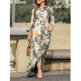 Floral Leaves Print Lapel Button Long Sleeve Daily Casual Maxi Dress