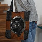 Kadın Kanvas Sevimli Karikatür Siyah Kedi Baskı Çanta Tote Omuz Çanta