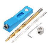 Aluminum Alloy One-hole Pocket Hole Jig with Magnet and Step Drill Bit Screwdriver Bit 9.5mm Oblique Hole Drill Guide Woodworking Tool