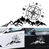 2 peças decalque do capuz do corpo do carro bússola c / montanhas para camper van motorhome car