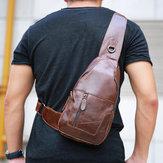 Ekphero® Mænd Ægte læder Vintage Brysttaske Casual Crossbody taske