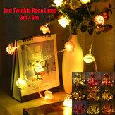 3M 6M LED Artificia Rose Flower Fairy String Light Home Party Wedding Holiday Christmas Decor Lamp AC110V/220V