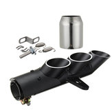 Motorcycle Exhaust Three-outlet Pipe with Mounting Clamp Black