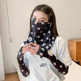 Mulheres protetor solar verão ao ar livre gelo manga de seda manga braço guarda manga respirável capa rosto véu Máscara