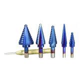 5шт HSS прямой флейта шаг Дрель бит Nano синий с покрытием дерева резак металла с отверстием центр