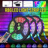 Original              32FT 15M RGB LED Tira de luz 3528 Impermeable / Cinta flexible no impermeable Lámpara DC12V + 44Keys Control remoto + Fuente de alimentación