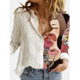 Women Girl Figure Flower Print Patchwork Lapel Collar Long Sleeve Button Up Shirts