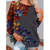 Dames Colorful Casual sweatshirt met lange mouwen en bloemenprint