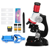 Kids 100X 400X 1200X Zoom Illuminated Monocular Biological Microscope Red Gifts