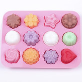 Multifunctionele 12 Holes Bloemen Silicone Cake Mould Ice Cream Mould Jelly Pudding Mould Chocolate Mould